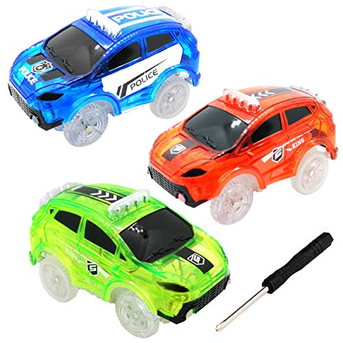 HZMENG Track Cars Compatible with Most Tracks and Neo Tracks Light Up Racing Track Accessories with 5 Flashing LED Lights Glow in The Dark Best Toys for Boys and Girls (3 Pack)