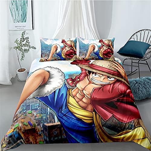 Anime One Piece Juego de ropa de cama 3D Anime Digital Print Ropa de cama de tres piezas, 100% suave y agradable, con dos fundas de almohada (estilo 05,220 x 260 cm/50 x 75 cm)