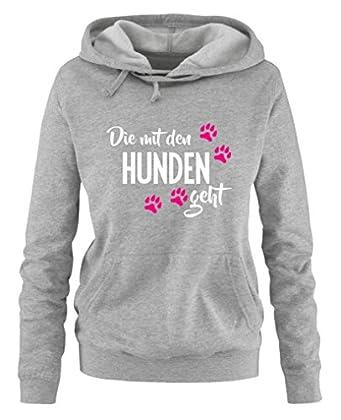 ✔ ARTIKEL: Individueller Damen Hoodie bedruckt mit Die mit den Hunden geht ✔ DESIGN: Trendy, Cool, Stylish, Originell. Die Fertigung des Shirts ist made in Germany