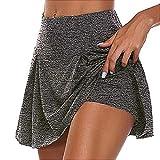 Jupe Short de Golf Tennis Femme Mini Skorts Skirt Jupe de Sport Courte Moulant Shorts Legging Ventre Plat Jupette de Bain avec Culotte pour Yoga Gym Dance Running (Gris, M)