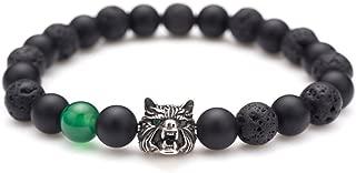 Viking Wolf Head Charm Healing Crystal Stress Relief Anti Anxiety Energy Stone Beaded Bracelet
