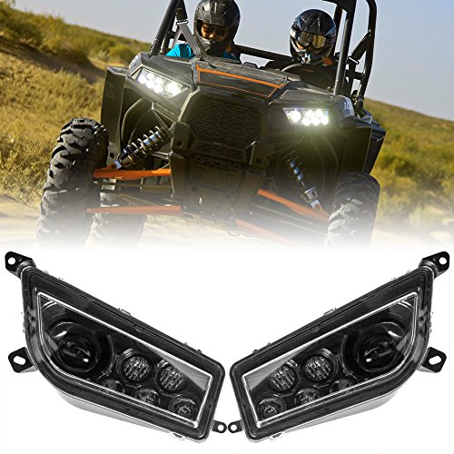 LED Headlight Clear Lens Replacement Headlamp for 2014-2017 Polaris RZR XP 1000 900 LED halo lights