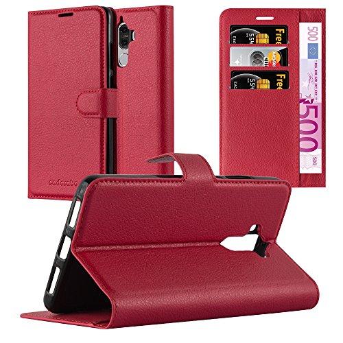 Cadorabo Hülle für Huawei Mate 9 in Karmin ROT - Handyhülle mit Magnetverschluss, Standfunktion & Kartenfach - Hülle Cover Schutzhülle Etui Tasche Book Klapp Style