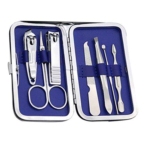 Elenxs 7pcs / set kit de coupe Kit Clippers Trimmer ongles, coupe-ongles set, ongles utilitaire professionnel manucure en acier au carbone Soin des ongles Set avec PU Flower Case