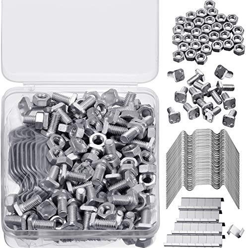 Hotop Gewächshaus Reparatur Kit, Enthält 50 Stück Verglasungsklammern MIT Drahtklammern, 50 Stücke Z Überlappung Klammern, 50 Stück Aluminium Gewächshausmuttern und 50 Stücke Aluminiumschrauben