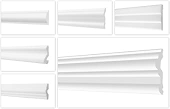 HEXIM O 2 meter wandlijsten van piepschuim XPS - hoogwaardige stuclijsten licht en robuust in modern design - (FG7-80x15m...