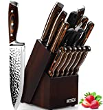 Knife Set, 15-Piece Kitchen Knife Set with Block Wooden, HOBO Chef Knife Set with Sharpener, Japan High Carbon Stainless Steel Knife Block Set, Boxed Knife Sets, Color Wooden Handle.