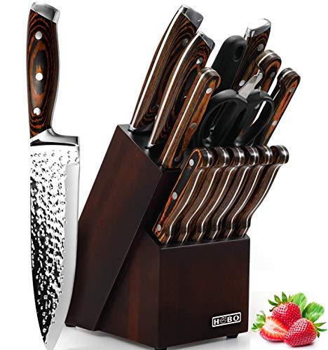 Knife Set, 15-Piece Kitchen Knife Set with Block Wooden, HOBO Chef Knife...