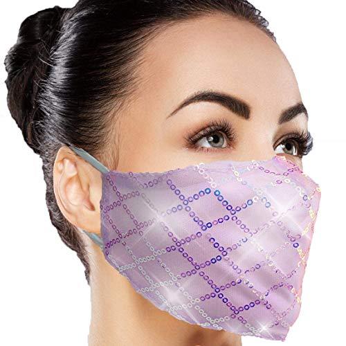 face mask for women Designer Rhinestone Sparkly Face Mask - Women Bling Fancy Glitter Stylish Sequence Fashion Washable Masquerade Mask