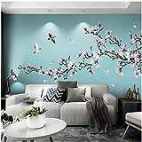 Kxch Chinesischen Stil Wandbild Tapete 3D Magnolie Blumen Vögel Fototapeten Wohnzimmer Studie Selbstklebende Wasserdichte Wandaufkleber-350X250CM