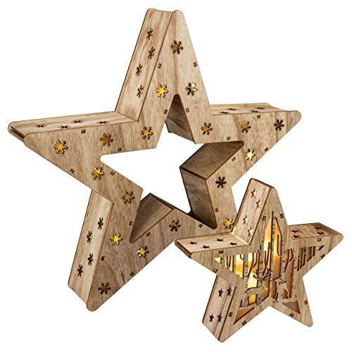 Holzsterne 2in1 3D-Optik 15 LED warm weiß Batterie Timer Weihnachten Stern Holz Weihnachtsdeko Weihnachtsbeleuchtung zum Stellen Lichterstern 33 cm