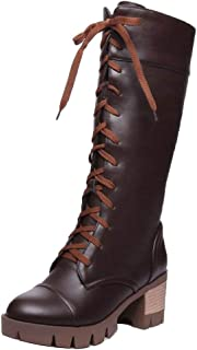 AicciAizzi Women Platform Long Boots Lace Up