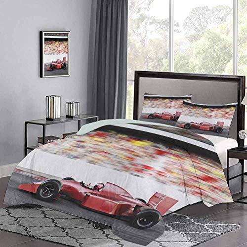 Funda nórdica para cama de tres piezas,, tema deportivo, coche de carreras rojo, vista lateral en una pista, líder del grupo con Motion Blur, diseño de juego de funda nórdica para hotel Stitch, muy si