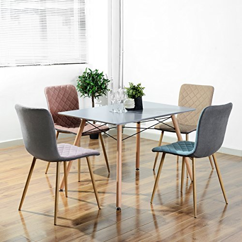 HOMY CASA Farmhouse Rectangle Dining Table, Mid-Century Kitchen Table with Metal Tube for Home, Office, Patio,Grey(Only Table not Include Chairs)