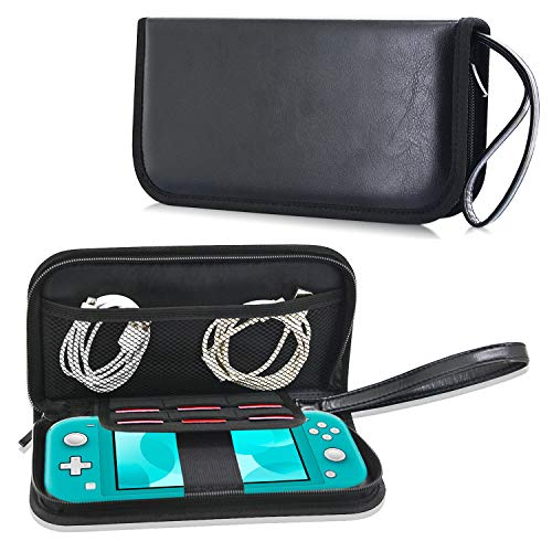 ACdream Case Past op Nintendo Switch Lite 5.5 2019 uitgebracht, Premium PU lederen beschermhoes voor nieuwe Nintendo Switch Lite 5,5 inch met draagbare, 6 Game Cards,, Case Only Fits New Nintendo Switch Lite 2019 Model, Zwart