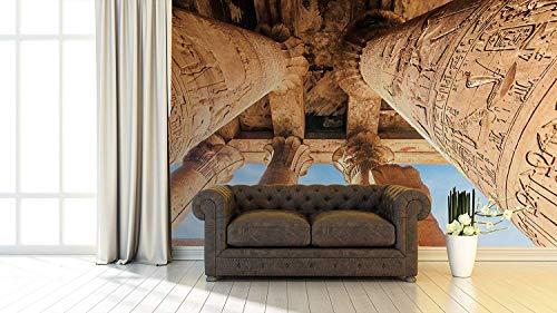 Fototapete Wallpaper Wand Wandsäulen Ägypten | Fototapete für Wände | Wandbild | Dekoratives Vinyl | Verschiedene Maße 150x100 cm | Dekor Esszimmer, Wohnzimmer, Zimmer .| Elegantes Design