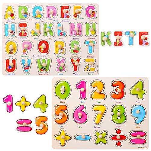 GWHOLE Juguete de Aprendizaje Tablero Letra y Número Puzzle