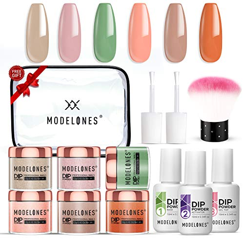 Dip Powder Nail Starter Kit 6 Colors Diping Powder System Nail Kit Acrylic Dipping System for French Nail Manicure Nail Art Set Essential Kit,Portable Kit for Travel
