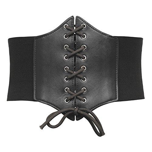 Lace-up Cinch Plus Size Belt Tied Corset Elastic Waist Belt Festival Halloween(3XL,Black)