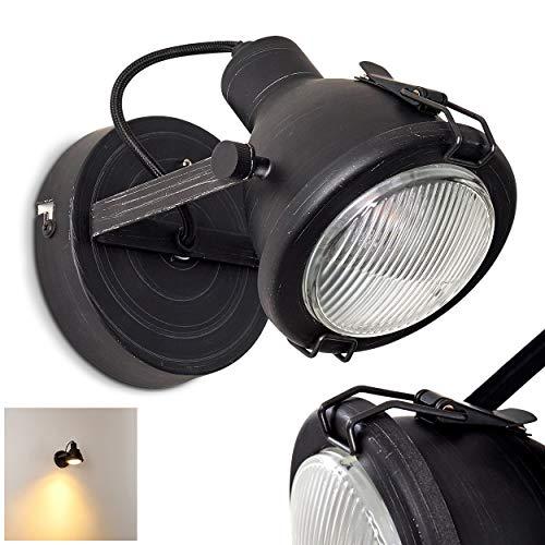 Wandlamp Bissau, verstelbare wandlamp van metaal/glas in zwart, 1 vlam, 1 x GU10 fitting max. 7 Watt, wandvlek in retro/vintage uitvoering, geschikt voor LED-lampen