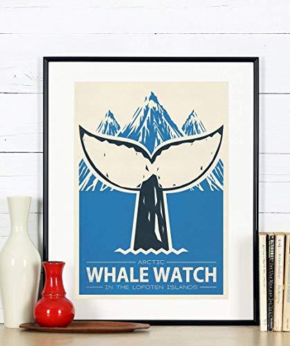 Travel Poster, Norwegen, Whale Watch, Wal, Berge, Reise, Skandinavien, Skandinavisches Dekor
