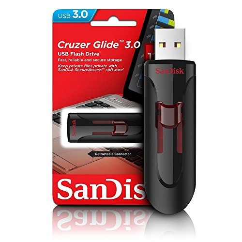 Sandisk UFM 128GB USB Cruzer Glide 3.0 USB-Stick USB Typ-A 3.0 (3.1 Gen 1) Schwarz, Rot - USB-Sticks (128 GB, USB Typ-A, 3.0 (3.1 Gen 1), Dia, Schwarz, Rot)