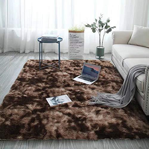 N-B Rectangle Carpet With Long Pile Tie Dyeing Gradient Fluffy Rug Fuzzy Bedroom Modern Nodic Style Coffee Table Mat Grey 140x200 CM