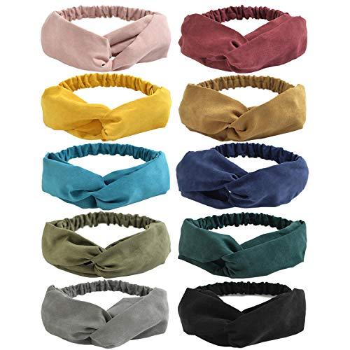 DRESHOW 10 Stück Damen Boho Stirnband Kopfband Haarband Gedruckt Stirnbänder Knoten Verdrehtes Elastische Kopf Wickeln Niedlich Haarschmuck für Mädchen