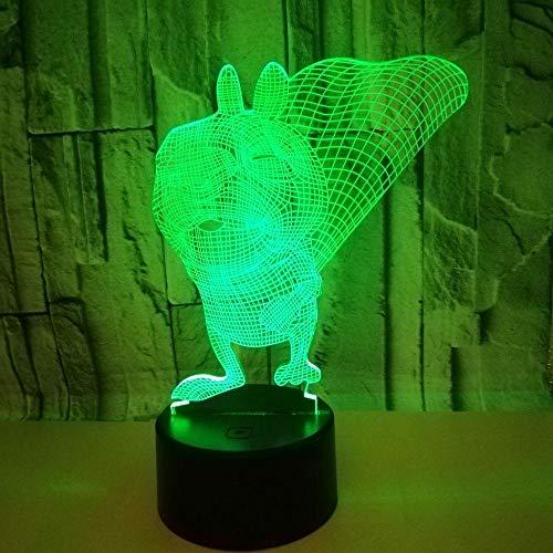 Veilleuse LED Magical 3D en forme d'écureuil - Superbe déception optique - Contrôle tactile - 7 couleurs - Pour chambre d'enfant - Décoration de maison - Meilleur cadeau