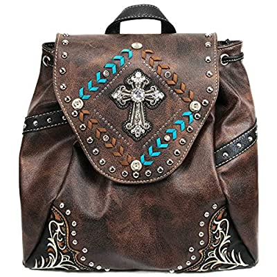 Justin West Trendy Western Cross Rhinestone Leather Conceal Carry Top Handle Square Backpack Purse (Brown Turquoise Backpack)