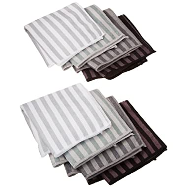 DII Microfiber Multi-Purpose Cleaning Cloths Perfect for Kitchens, Dishes, Car, Dusting, Drying Rags, 12 x 12, Set of 8 - Gray Stripe