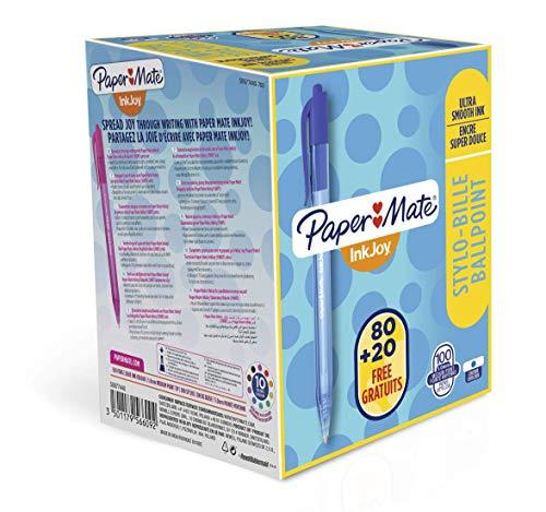 PaperMate InkJoy - Bolígrafo retráctil, punta media de 1 mm, paquete de 100, color azul