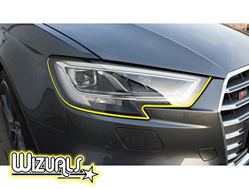 DEVIL STRIPES OGE EYE TEUFEL koplamp ORIGINELE WIZUALS + MIRROR strips SET, 8-delige folieset gemaakt van hoogwaardige folie, voor uw voertuig Mitsu COLT in geel
