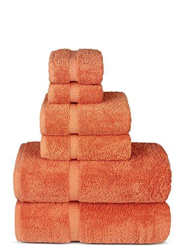 Chakir Turkish Linens Luxury Spa and Hotel Quality Premium Turkish Cotton 6-Piece Towel Set (2 x Bath Towels, 2 x Hand Towels, 2 x Washcloths, Coral)