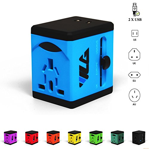 Travel Adapter and Charger by VLG - USB Charging Ports - Super Fast Charging - All International Standard Cell Phone/Desktop/Laptop/Touch Screen Tablet/Computer/GPS Chargers (Yellow)