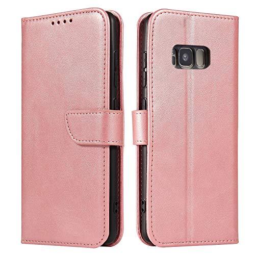 Ancase Portefeuille Coque pour Samsung Galaxy S6 Edge Or Rose à Rabat en Cuir Porte Carte Flip Case Cover Housse Etui pour Fille Femme