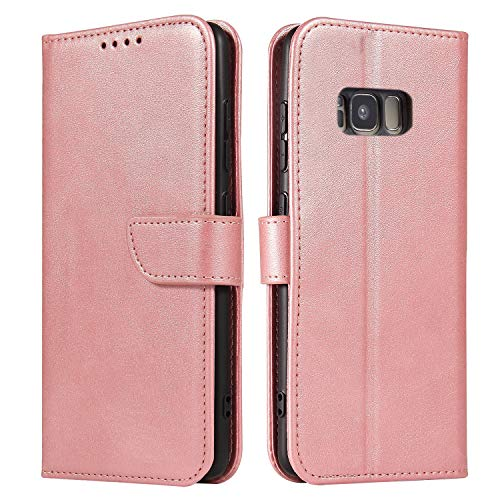 ANCASE Funda de Cuero Compatible con Samsung Galaxy S5 Oro Rosa con Tapa Libro PU Case Cover Completa Protectora Funda para Teléfono Piel Tarjetero Modelo