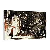 Cuadro sobre lienzo - Impresión de Imagen - apocalipsis lluvia paraguas Misterio - 100x70cm - Imagen Impresión - Cuadros Decoracion - Impresión en lienzo - Cuadros Modernos - AA100x70-3191