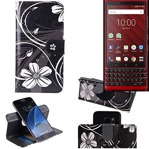 K-S-Trade Schutzhülle Für BlackBerry KEY2 Red Edition Hülle 360° Wallet Hülle Schutz Hülle ''Flowers'' Smartphone Flip Cover Flipstyle Tasche Handyhülle Schwarz-weiß 1x