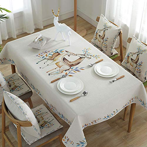 HTUO Tablecloth Wipe Clean White Table Cloths Christmas Decoration Rectangular Table Cover Cotton Linen Rectangle Table Decoration Kitchen Dinning Party Table Protector 140 * 140cm
