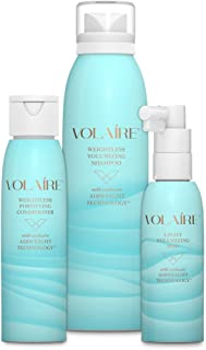 Volaire Volumizing Hair System Shampoo (4 oz), Conditioner (3.5 oz) and FREE Uplift Volumizing Mist (2 oz) – Add Volume, Bounce, Body Lift, Sulfate Free, Paraben Free, Safe for Color Treated Hair