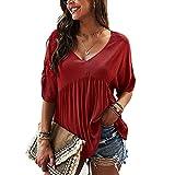 RWXXDSN T-Shirt Femme col en V Couleur Unie Top d'été en Coton Ample Femme
