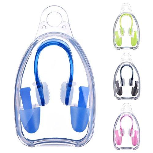 4 Set de Pinzas de Nariz de Natación y Tapones de Oídos Kits para Adultos y Niños, 4 Colores
