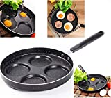 Professional Aluminum Non-Stick 4-Cup 9.5 inch Egg Pan - for Gas and Electric Stovetops - Egg Frying...