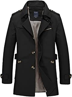 Mens Short Trench Coat Cotton Jacket Classic Lightweight Single Breasted Windbreaker Button-Down Jacket Slim Fit Overcoat ...