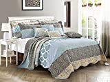 Home Soft Things 9 Piece Printed Striped Bedspread Set, Soft...