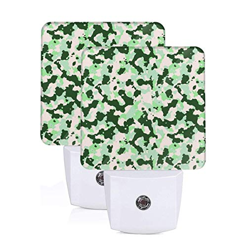Forest Green Camouflage Camo Army Military Tactical Led Night Light Plug in Set of 2 Summer Auto Senor Dusk to Dawn for Kids Adults Indoor Home Decor Theme Bedroom Bathroom Kitchen Hallway