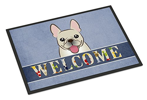 Caroline's Treasures BB1424MAT French Bulldog Welcome Indoor or Outdoor Mat, 18 x 27', Multicolor
