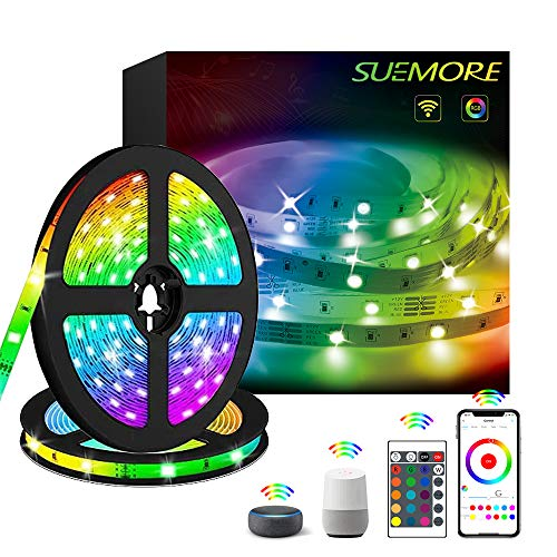 Tira LED WIFI, 10M Luces de Tira LED Controlada por APP,Sincronización de Música, 5050 RGB 300LED,Funciona con Alexa Echo/Google Assistant para Navidad, Fiesta y Decoración Doméstico