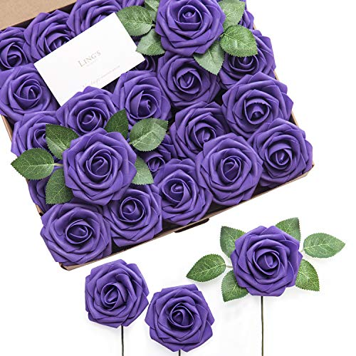Ling's moment Artificial Flowers 25pcs Real Looking Cadbury Purple Fake Roses w/Stem for DIY Wedding Bouquets Centerpieces Bridal Shower Party Home Decorations